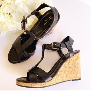 New Cole Haan Black & Cork Wedge Shoes size 8